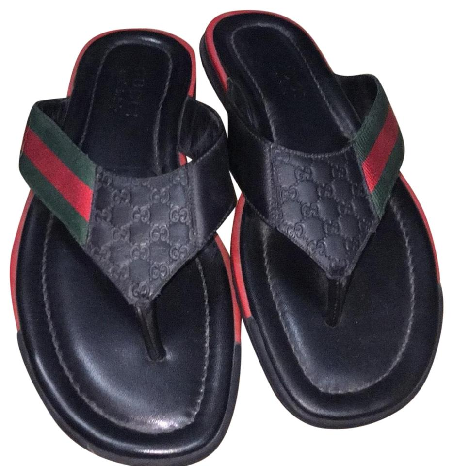 aad9d6e2a754 Gucci Black Gg Logo Sandals Size EU 39.5 (Approx. US 9.5) Regular (M ...