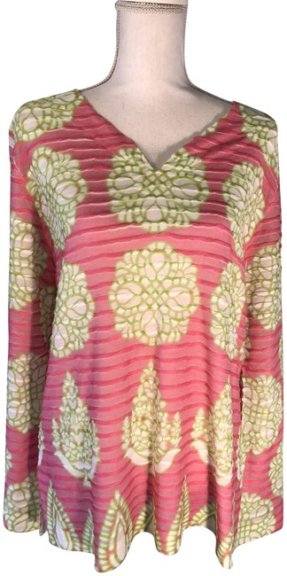 Item - Green Pink and White Floral Banded #133380 Tunic Size 16 (XL, Plus 0x)