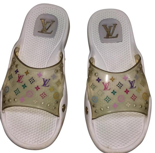 Preload https://img-static.tradesy.com/item/23720187/louis-vuitton-white-multi-color-lv-logo-sandals-size-eu-39-approx-us-9-regular-m-b-0-1-540-540.jpg