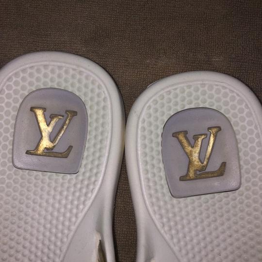 Louis Vuitton White / multi color LV logo Sandals