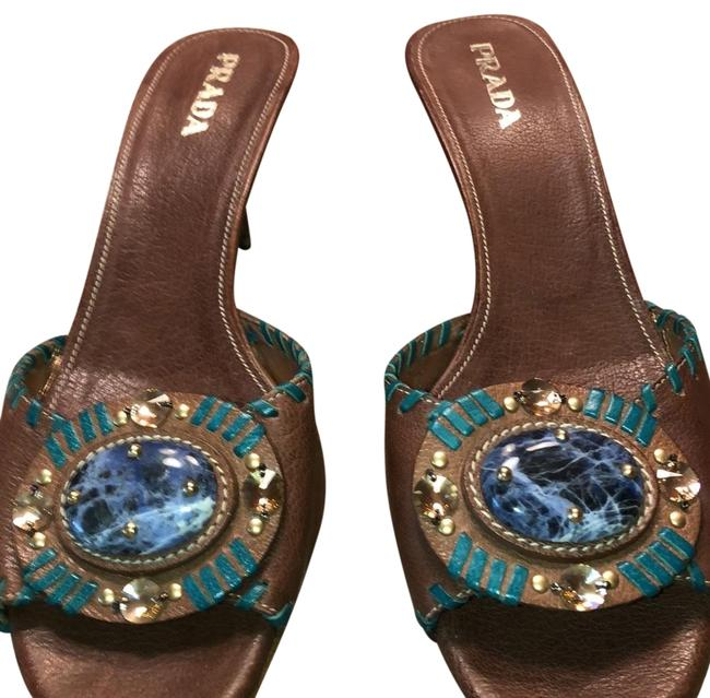 Item - Brown and Blue Sandals Size US 9.5 Narrow (Aa, N)