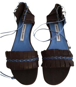 Manolo Blahnik Brown And Blue Sandals