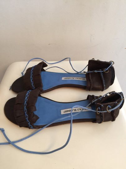 Manolo Blahnik Brown And Blue Sandals Image 1