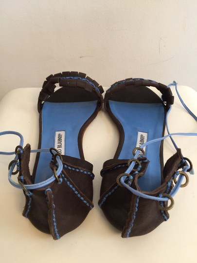 Manolo Blahnik Brown And Blue Sandals Image 2
