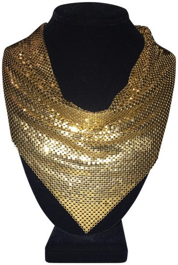 Whiting & Davis Vintage Gold Mesh Bib Necklace