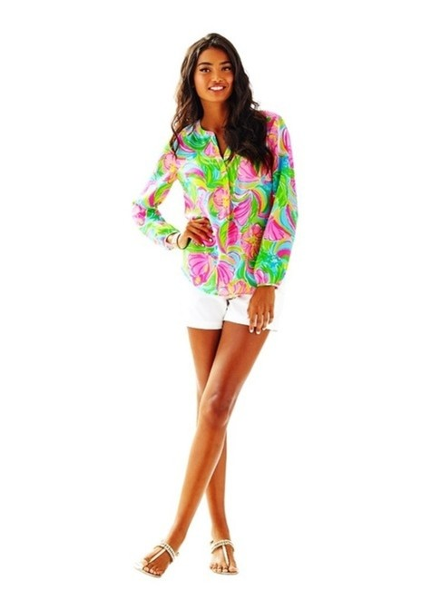 Lilly Pulitzer Floral Silk V-neck Casual Longsleeve Top multi-color
