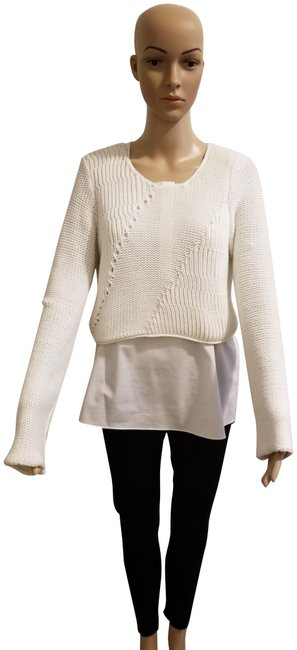 Preload https://img-static.tradesy.com/item/23720472/elie-tahari-white-juiliana-shirttail-sweaterpullover-size-8-m-0-1-650-650.jpg