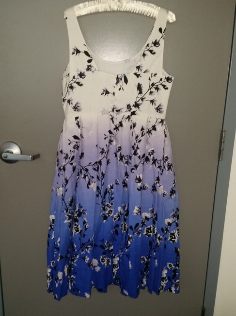 White black blue purple multi floral print Maxi Dress by Ivanka Trump