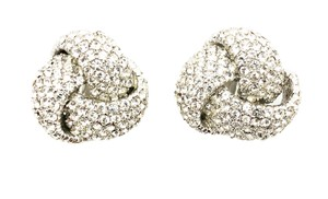 Ciner Ciner Love Knot Crystal Rhinestones Clip On Earrings Beautiful Signed