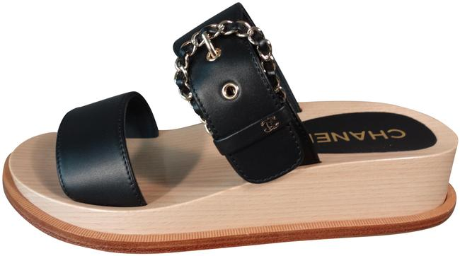 Item - Black & Beige Leather 2 Straps Gold Woven Chain Sandals New Mules/Slides Size EU 39 (Approx. US 9) Regular (M, B)