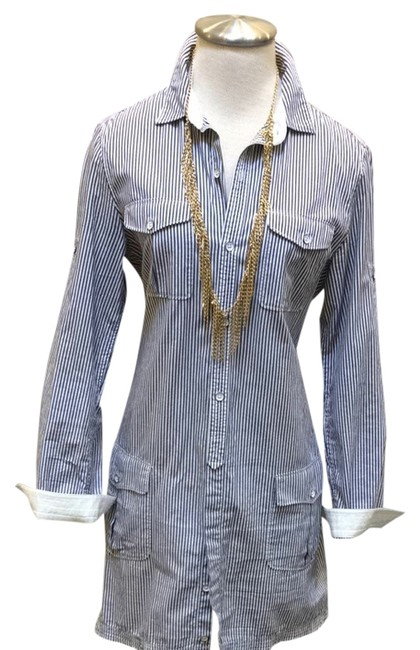Rag & Bone Button Down Shirt Blue & White Stripe