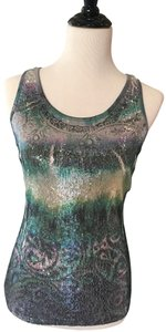 Body Central Racer-back Sequined Sleeveless Blouse Shirt Top Green purple multi