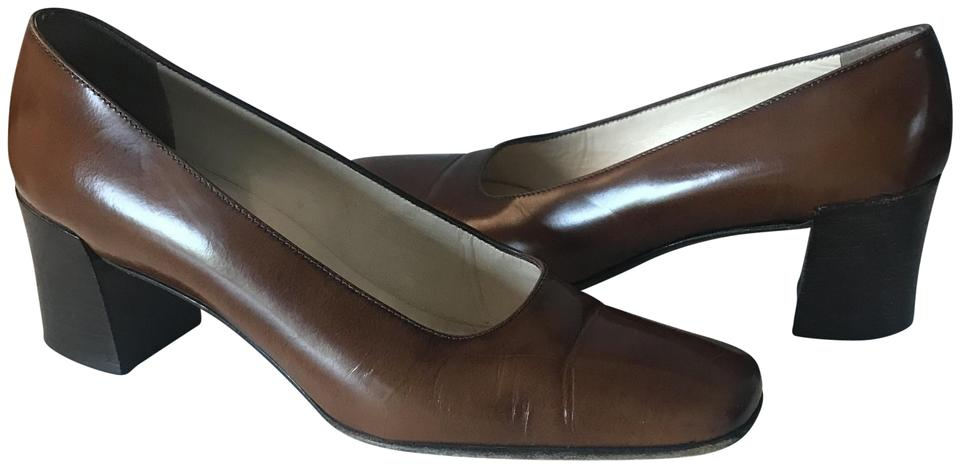 Prada Brown Brown Prada Chunky Heel Square Pumps 462bfd