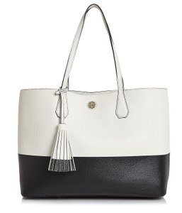 Tory Burch Summer Beach Tote in Black white ivory
