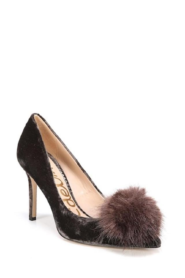Sam Edelman Brown Haroldson Velvet Pumps Faux Fur Pom Pom Pumps Velvet 4b4e32
