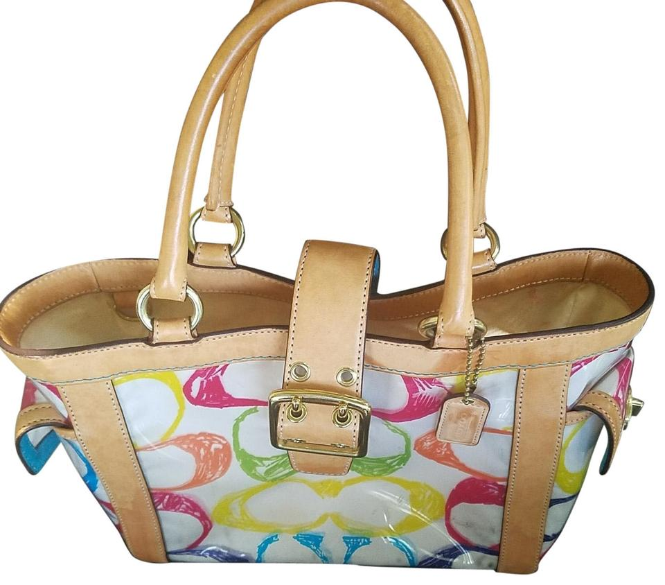 50827dfbfff6 Coach A053-2152 Multi Color Vinyl with Leather Accents Satchel - Tradesy