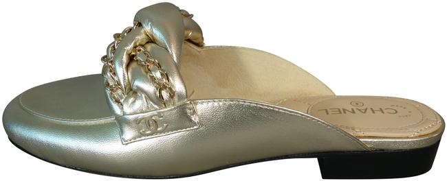 Item - Light Gold Lambskin Braided Chain Cc Loafers Moccassins New Mules/Slides Size EU 37 (Approx. US 7) Regular (M, B)