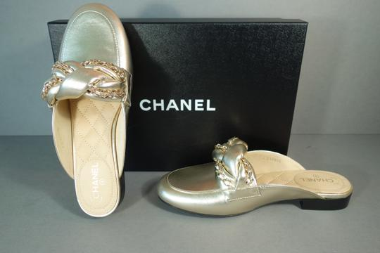 Chanel Light Gold Mules Image 4