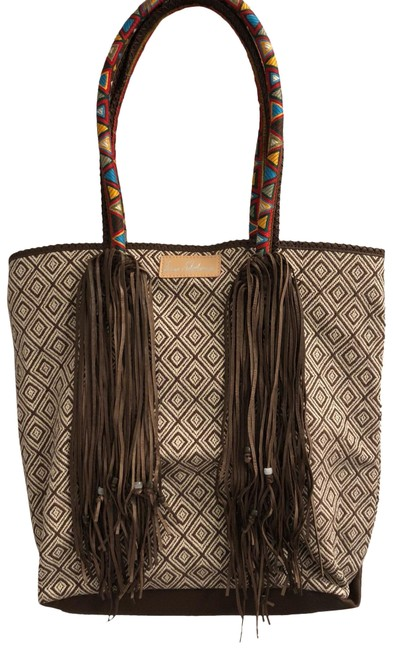Item - Embroidered Dark Brown/Cream Leather Tote