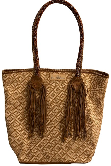Item - Embroidered Brown/Cream Leather Tote