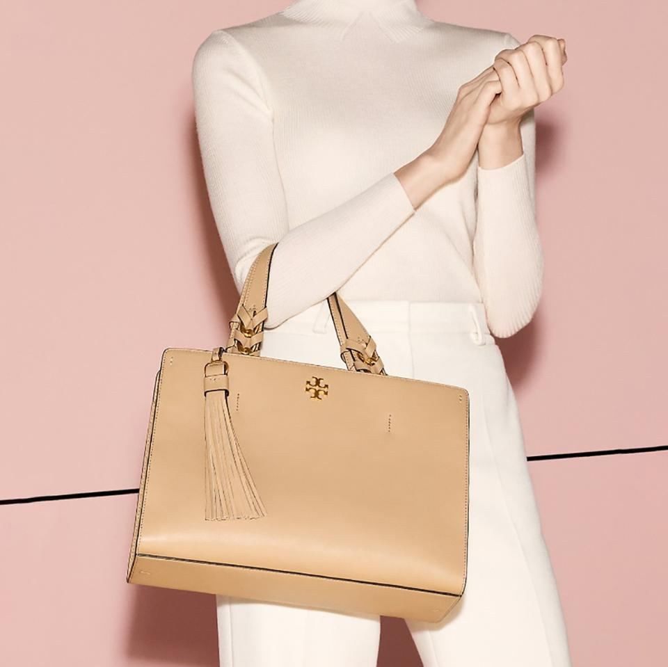 Leather Brooke Burch Nude Satchel Tory Beige wvnRIqO5O