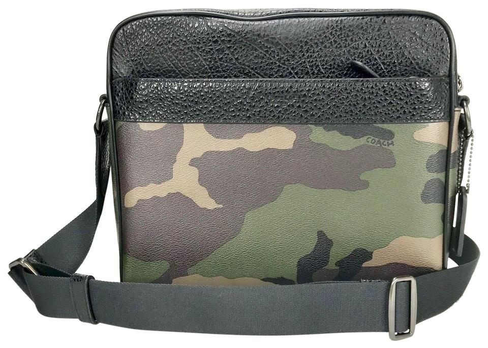 241b261ec1 Coach Charles Camera Shoulder with Camo Print Black Green Multi Leather  Cross Body Bag
