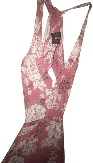 Item - Pink Floral Backless High Slits Long Casual Maxi Dress Size 2 (XS)