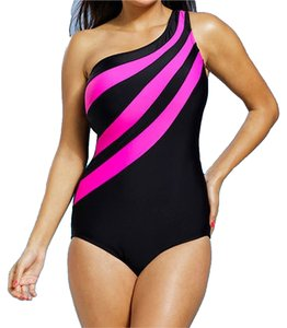 Delta Burke Delta Burke Fuschia Splice City One Shoulder Swimsuit Size 24 NWT