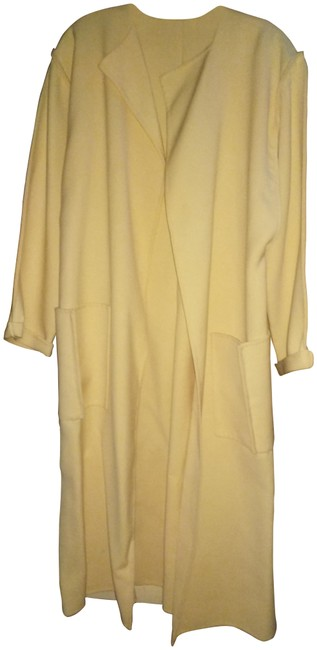 Item - Cream Vintage Couture Open Front Inverted Coat Size 10 (M)
