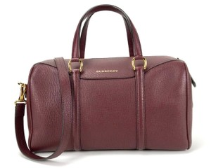 Burberry House Check Red Leather Oxblood Leather Medium Satchel Bowler Shoulder Bag