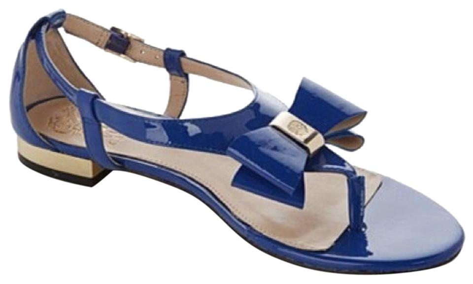 8d93b14adc3 Vince Camuto Blue Harmonica Leather Flat Bow Sandals Size US 7.5 ...