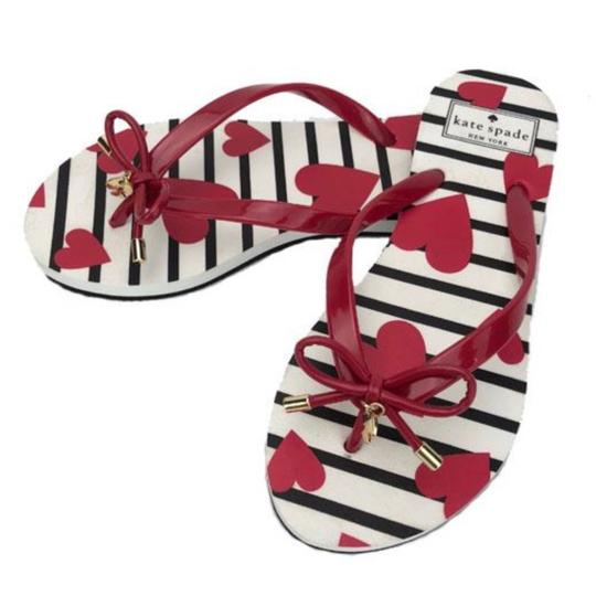 ebedae6b8819 Kate Spade Red   White ♤ ❤ Print Flip Flops Sandals Size US 8 ...