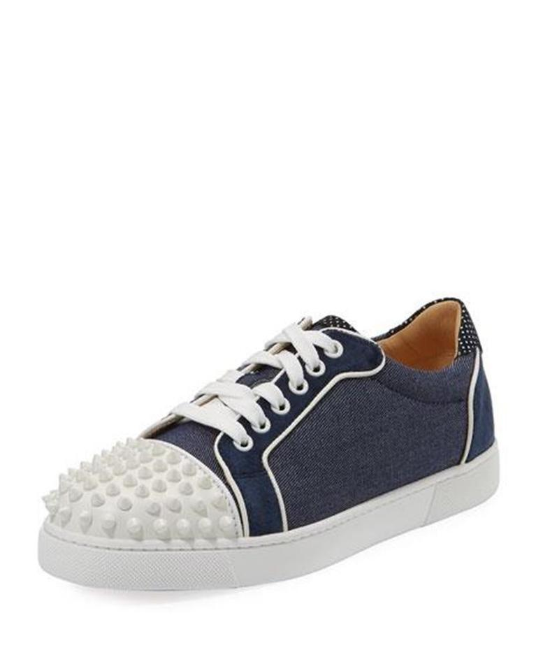Christian Louboutin Denim Blue Navy Blue White Vieira Spikes Studded  Leather Sneakers Flat Sneakers 51c78e05575