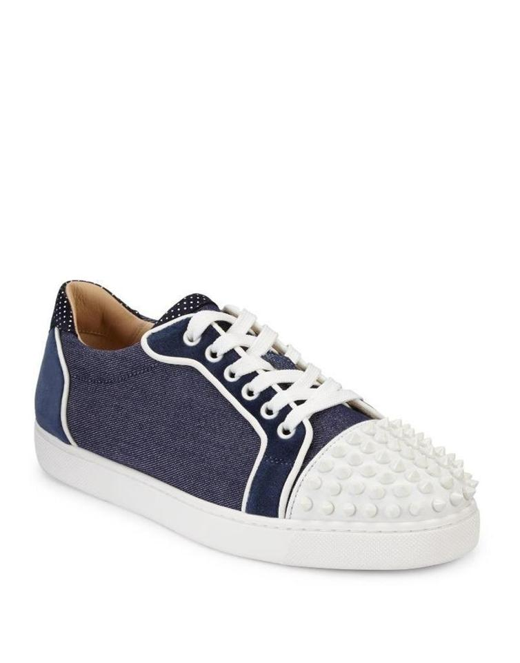 more photos 53dbe 6fe0a Christian Louboutin Denim Blue Navy Blue White Vieira Spikes Studded  Leather Flat Sneakers Size EU 37.5 (Approx. US 7.5) Regular (M, B) 31% off  retail