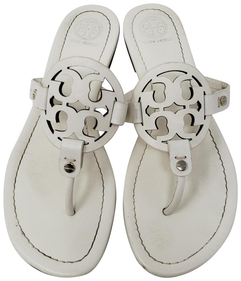 Tory Leather Burch White Gold Creme Leather Tory Miller Sandals 7546d6