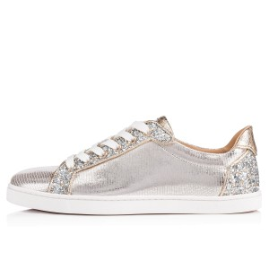 Christian Louboutin Sneakers Low Top Seava Metallic Glitter Silver Athletic