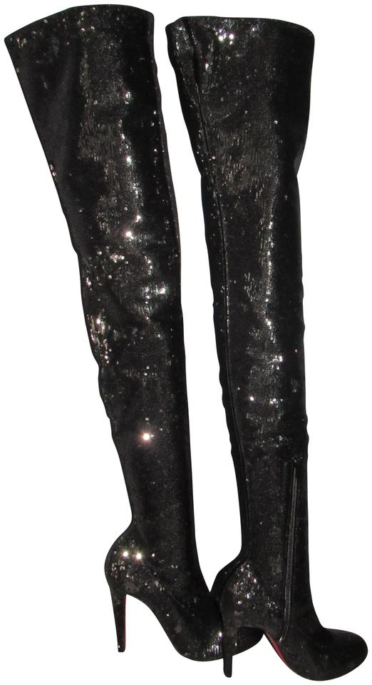wholesale dealer d7c30 c6b10 Christian Louboutin Black Louise X 100 Over The Knee Sequin Tall  Boots/Booties Size EU 41 (Approx. US 11) Regular (M, B) 38% off retail