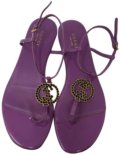 a0cad451f gucci purple patent leather gg buckle sandals size eu 36.5 approx us 6.5  regular m b.