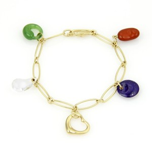 Tiffany & Co. Peretti 18k Yellow Gold Multicolor Gems 5 Charms Chain Bracelet