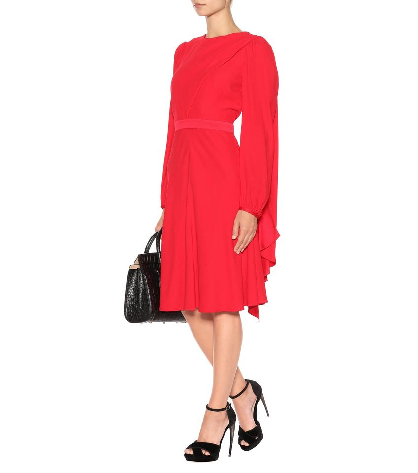 bodice Formal Dress Draped sleeve Crepe Red Long Alexander McQueen S8cBWpY7xg