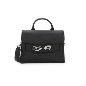 Rebecca Minkoff Dressy Or Casual Two Way Style Leather/Chrome Satchel/Cross Body Satchel in black leather
