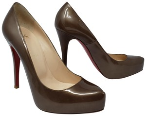 Christian Louboutin Patent Leather Rolando Hidden Platform Pointed Toe Metallic Brown Pumps
