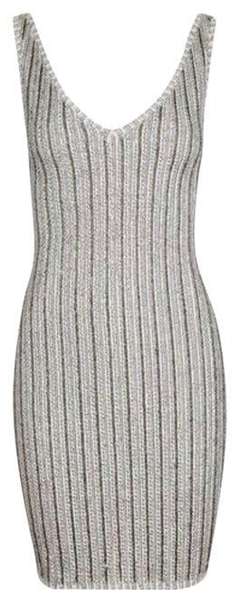 Item - Silver Sequin Ribbed Tunic Short Night Out Dress Size 4 (S)