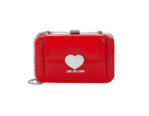 Moschino Lunchbox Style Chrome Heart Accents Limited Edition Satchel in red patent leather