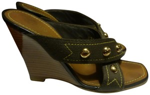 Louis Vuitton BROWN STRAP & GOLD HARDWARE Wedges