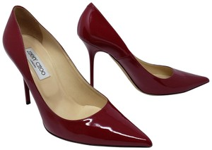 Jimmy Choo Pointed Toe Crystal Abel Anouk Patent Leather Red Pumps