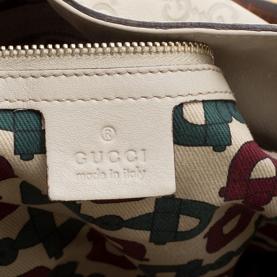 d294bc72904b Gucci Off Guccissima Peggy Bamboo Top Handle White Leather Hobo Bag ...