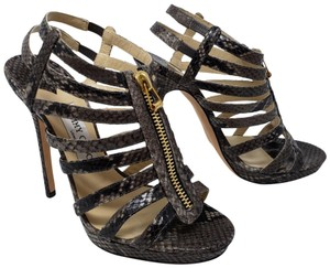 Jimmy Choo Gold Hardware Ankle Anouk Glenys Snakeskin Brown Sandals