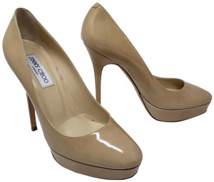 Jimmy Choo Platform Pointed Toe Anouk Cosmic Patent Leather Beige Pumps