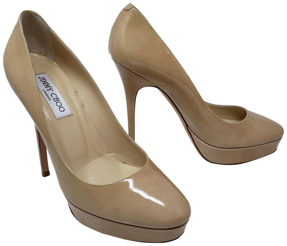 new styles exclusive shoes for whole family Jimmy Choo Beige Nude Patent Leather Cosmic Platform Pumps Size EU ...